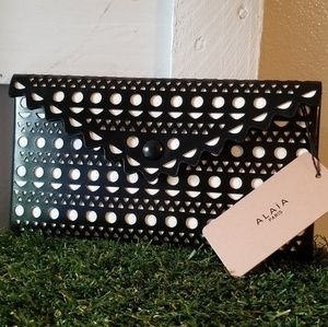 Alaia Laser Cut Genuine Leather in Black